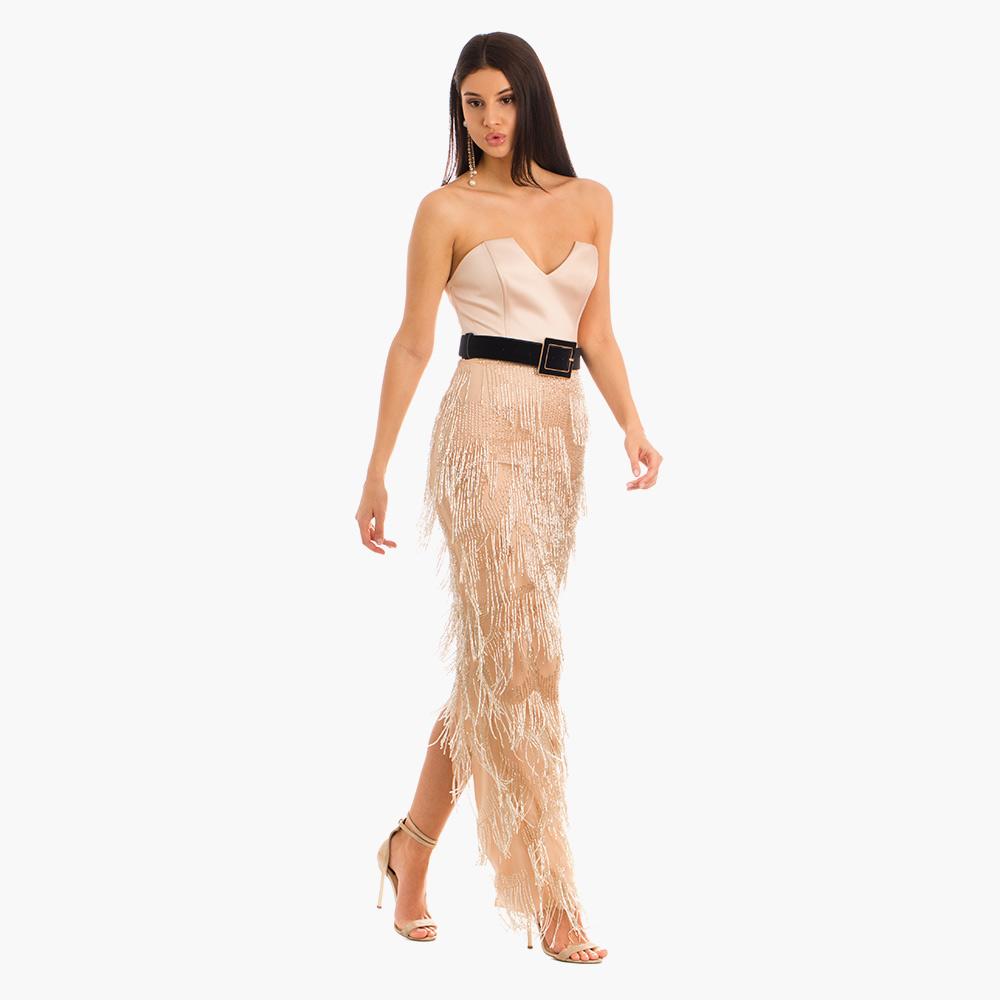 Rochie crem Jade din matase naturala vitoria haute couture