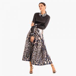 Rochie neagra Alice din tesatura din fibre naturale vitoria haute couture