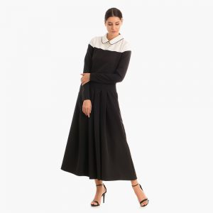 Rochie neagra Ivona din tesatura sintetica elastica vitoria haute couture