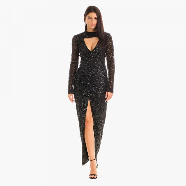 Rochie neagra Maelys vascoza elastan vitoria haute couture