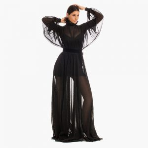 Rochie neagra Manon din tesatura din fibre vitoria haute couture