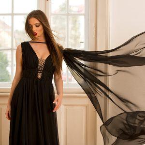 Rochie neagra Claudie din tesatura din fibre naturale